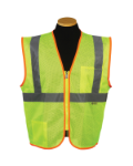 Sz L Lime Mesh Economy Zipper Safety Vest Model# MZ529C-2