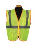 Sz  XL Lime Mesh Economy Zipper Safety Vest Model# MZ529C-2